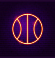 basketball neon label vector image
