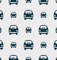 Car icon sign Seamless pattern with geometric vector image vector image