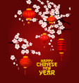 chinese new year card of lantern with plum blossom vector image