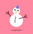 christmas snowman icon with long shadow vector image vector image