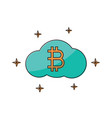 cryptocurrency bitcoin cloud thin line flat vector image