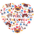 cute cats in heart shape vector image vector image
