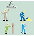 Flat design style cartoon worker icons set vector image