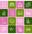 gardening planting and horticulture line icons vector image vector image