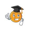 graduation orange fruit cartoon character vector image vector image