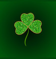 green glitter leaf clover icon happy vector image vector image