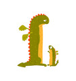 green mature dragon and small baby dragon mother vector image vector image