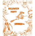 Halloween sketch characters and elements vector image vector image