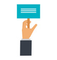 hand with protest banner isolated icon vector image vector image