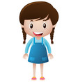 happy girl in blue overall vector image