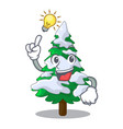 have an idea fir with snow christmas tree cartoon vector image