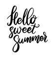 hello sweet summer lettering phrase on white vector image vector image
