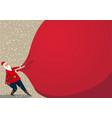 holiday banner - santa claus pulling a huge heavy vector image vector image