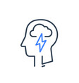 human head profile and cloud lightning psychology vector image vector image