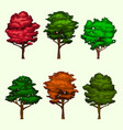 isolated realistic tree collection set vector image vector image