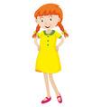 Little girl in yellow dress vector image vector image