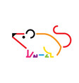 mouse colorful lines icon rat sign designs icon vector image