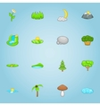 Nature icons set cartoon style vector image vector image