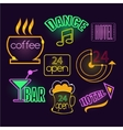 Neon Signs of Cafe Hotel and Bar Isolated vector image vector image