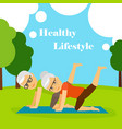 old couple going yoga vector image vector image