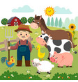 old farmer and farm animals vector image