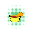 Pepper sauce with pita bread icon comics style vector image vector image