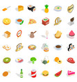 quality food icons set isometric style vector image vector image