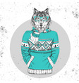 retro hipster fashion animal wolf vector image