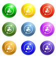 round circle arrow icons set vector image vector image