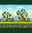 seamless cartoon nature background with separate vector image vector image
