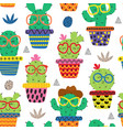 seamless pattern with funny cactus in glasses vector image vector image