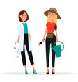 set of two women grower and doctor in white coat vector image vector image