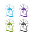 set windmill with wave design template vector image