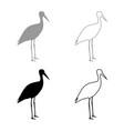 stork ciconia icon set grey black color vector image vector image