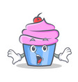 surprised cupcake character cartoon style vector image vector image
