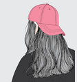 the girl wearing a pink hat vector image vector image