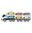 trailer transports cars with new auto vector image vector image