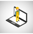 under construction worker with laptop vector image vector image