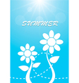 White flower on blue sky summer background vector image vector image