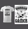 white t-shirt warrior gamer vector image