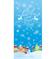 Winter holidays card with houses Handwritten text vector image