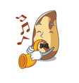 with trumpet brazil nut mascot cartoon vector image