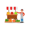young street vendor selling fresh fruits and vector image