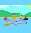 cartoon father son together fishing boat vector image