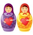 matryoshka doll holding a heart vector image