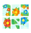 Set of cards with geometrical flowers vector image