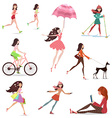 Lifestyle of fashion young woman walking with vector image