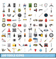 100 tools business icons set cartoon style vector image vector image