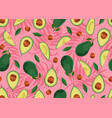 avocado seamless pattern whole and sliced on pink vector image vector image