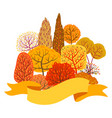 background with autumn stylized trees vector image vector image